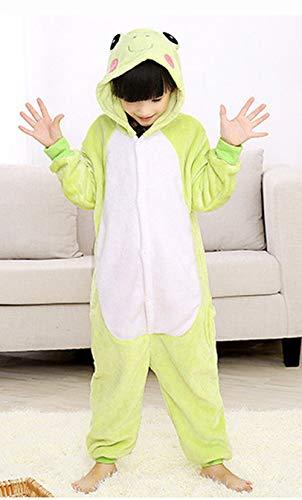 Kinder Tier Stil Pyjama Schlafanzug, Fasching Cosplay Kostüm Overall Frosch, Party Jumpsuit Halloween Karneval (Tag Größe 130)