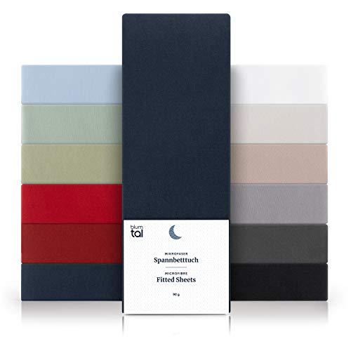 Blumtal Basics Sábana Bajera Ajustable de Microfibra Cepillada - Sábana Bajera para colchón de 25-27 cm de Altura, Cama 150: 150 x 200 x 30 cm, Azul Oscuro
