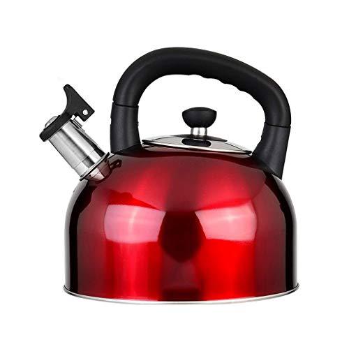 Theepot voor fornuis, waterkoker, temperatuur GB, afneembare teakettle, roestvrij staal 304, hoge capaciteit, pijp, fornuis, gasfornuis, algemeen, 3 kleuren 5L Rood