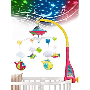 UNIH Baby Crib Mobile with Lights and Music, Moon and Stars Projection for Infants