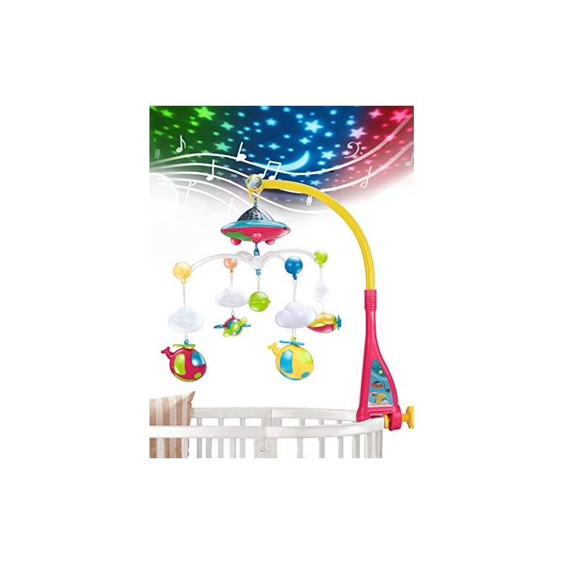 crib bedding and baby bedding unih baby crib mobile with lights and music, moon and stars projection for infants