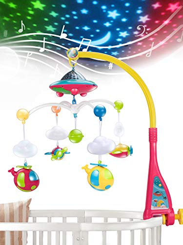 UNIH Baby Crib Mobile with Lights and Music, Moon and Stars Projection for Infant
