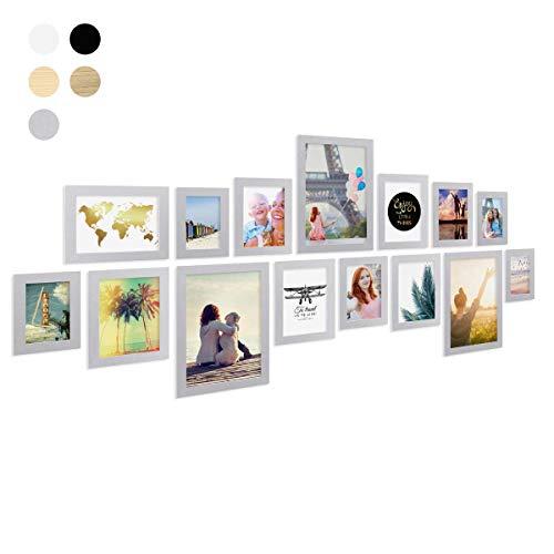 PHOTOLINI 15er Bilderrahmen-Collage Basic Collection, Modern, Silber, aus MDF, inklusive Zubehör/Foto-Collage/Bildergalerie/Bilderrahmen-Set