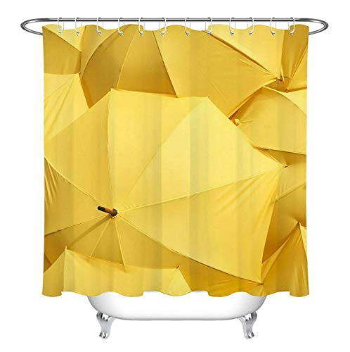 RTYRT 3D Printed Fabric Shower Curtain Yellow umbrella bathroom curtain Waterproof and Mould(180 * 200cm)