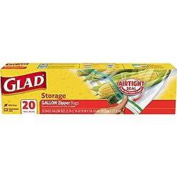 Glad Zipper Food Storage Freezer Bags - Gallon - 20 Count