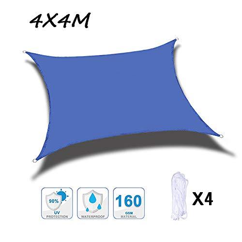 Beirich Sonnensegel, rechteckiger Sonnenschutz mit 4 Befestigungsseilen, wasserdichte Markise, 90 % UV-Schutz, für Außenbereich, Terrasse, Garten, Rasen, Pergola, Dekoration (4 x 4 m) L blau