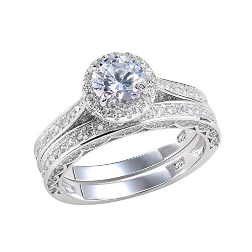 Newshe Jewellery Wedding Band Engagement Ring Set 2.4 Ct Round White Cz 925 Sterling Silver Size 8