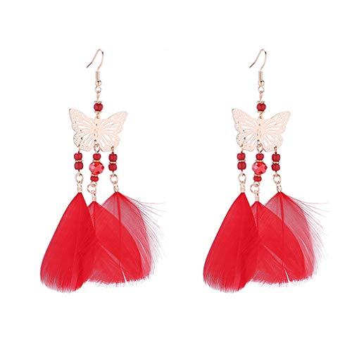 YAZILIND Bohemia pluma borla colgante gota hueco mariposa colgante gancho colgante pendientes joyería para las mujeres niñas rojo