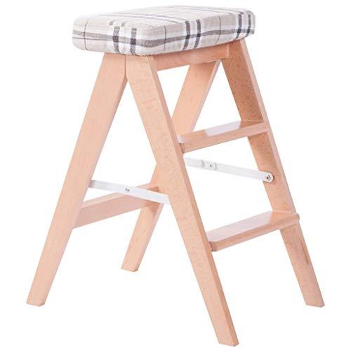 GUOXY Multifunktions-Einfache Weißen Klapphocker 3 Schritt Hocker Tragbare Umzug Stühle Mehrzweckküchen Hohe Hocker Und Bank Schritte Auf Beiden Seiten Mit Sitzbezug Waschbar,Streifen