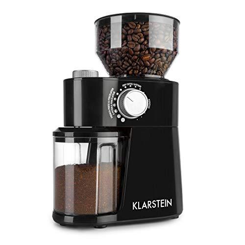 Klarstein Florenz Kaffeemühle (200 Watt, FlatBurr Grinding System mit Edelstahl-Scheibenmahlwerk, 18 wählbare Mahlgrade, Mengendosierer für 2-12 Portionen, 240 g Bohnenbehälter-Kapazität) schwarz