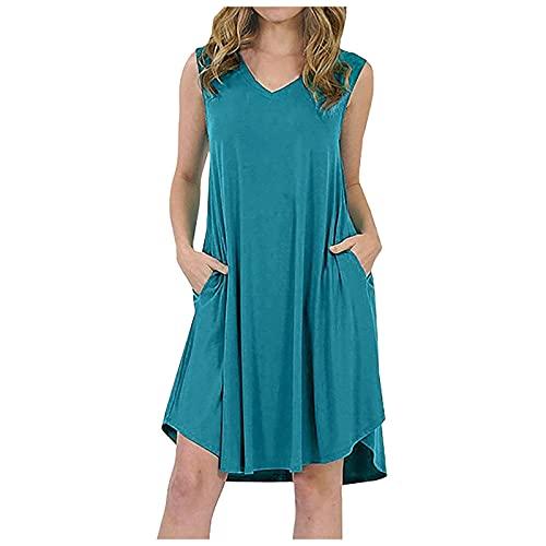 Pangki - Vestido largo para mujer, diseño de flores, vestido de playa de verano sin mangas, para fiesta, ceremonia azul claro 5X-Large
