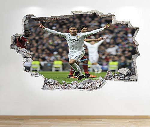1Stop Graphics Shop Cristiano Ronaldo Wandaufkleber 3D Optik - Jungen Kinder Fußball Schlafzimmer Z207 - Large: 70 cm x 111 cm