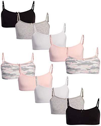 Rene Rofe Girls Cotton Spandex Cami Crop Training Bra with Adjustable Straps (10 Pack) (Camo, X-Large)