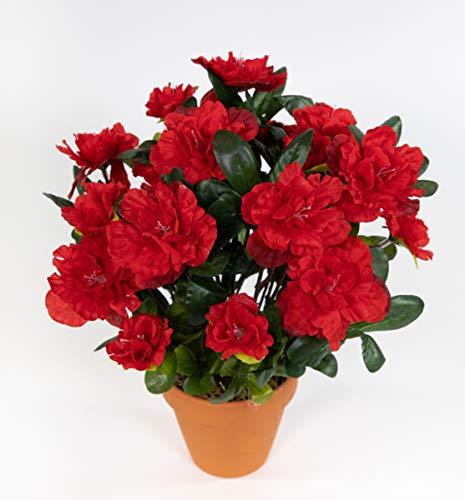 Seidenblumen Roß Azalee 24cm rot im Topf LA Kunstpflanzen Kunstblumen künstliche Blumen Pflanzen