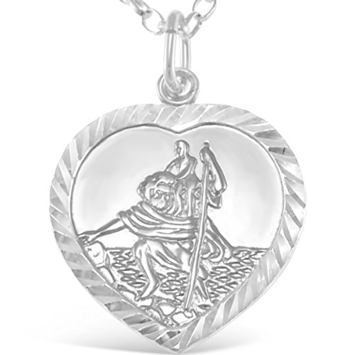 Sterling Silver St Christopher Heart Pendant necklace with 18' Chain and Jewellery Gift Box