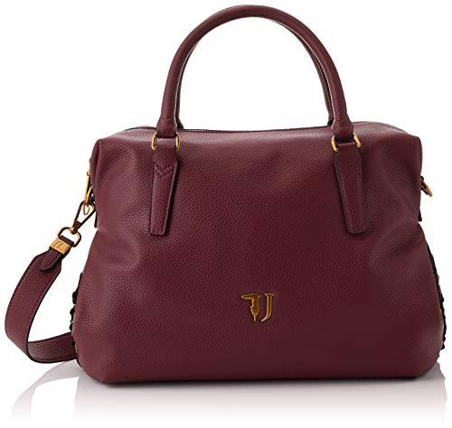 Trussardi Jeans Lavanda Satchel Bag, Borsa a Mano Donna, Rosso (Bordeaux), 35x22x15 cm (W x H x L)