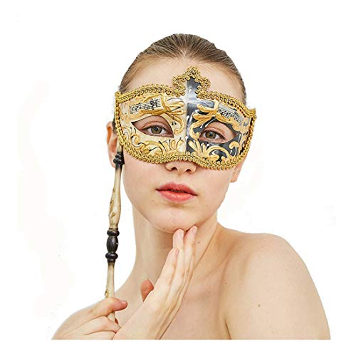 Venetian Masquerade Mask on Stick Halloween Mask Costume Party Mask(Black)