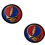 2 New 2' Grateful SYF Dead Steal Your Face Company Brass Colored Metallic Vinyl Sticker Emblem Decal Jerry Garcia Deadhead Officially Licensed Almost 2'