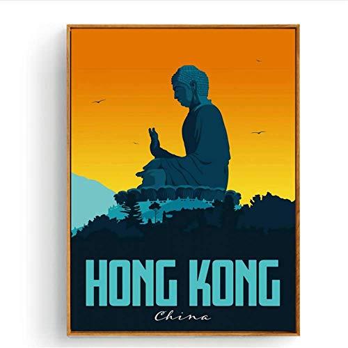 CAPTIVATE HEART Pintura de la Lona 40x60cm sin Marco Florencia Hong Kong Islandia Japón Kotor Lisboa Lucca Viaje Ciudad Arte Cartel Lienzo Pintura Decoración para el hogar