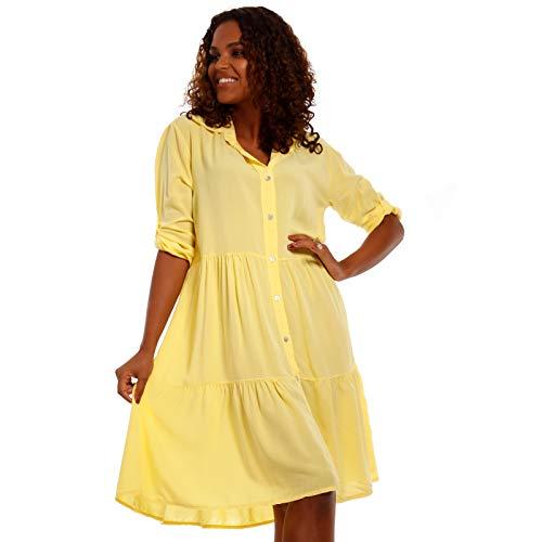 YC Fashion & Style Damen Tunika Kleid Sommerkleid Strandkleid Party-Kleid oder Freizeit-Minikleid H255 Made in Italy (One Size, Gelb)