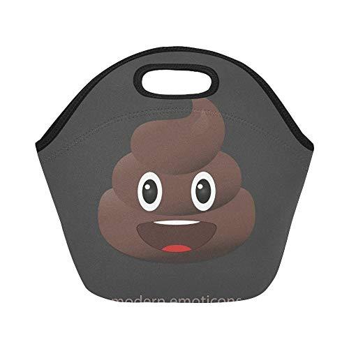 Bolsa de almuerzo de neopreno aislado Icono de caca de sonrisa Emoticones de mierda Caca Bolsas de asas gruesas térmicas reutilizables de gran tamaño para cajas de almuerzo para exteriores,