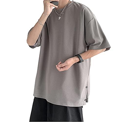 夏服 メンズ 半袖tシャツ メンズ ビッグt 無地 大きい おおきい サイズ 軽い 柔らかい シルエット おしゃれ ファッション gray L