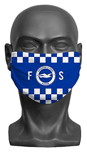 Personalised Compatible With Brighton & Hove Albion FC Initials Adult Face Mask- Large