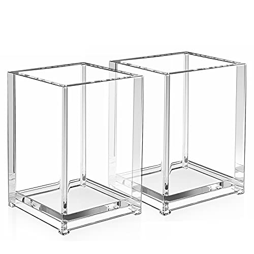 MaxGear Pen Holder 2 Pack Clear Acrylic Pencil Holder for Desk, Pencil Cups Desk Accessories Holder,...