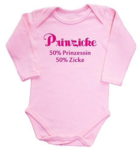 Krazz-Shirtz bedruckter Babybody Prinzicke Babybody Langarm (rosa, 50/56)