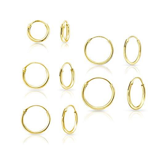 DTP Silver - Set da 5 paia di Orecchini da donna a Cerchio - Argento 925 Placcato in Oro Giallo - Spessore 1.2 mm, Diametro 8, 10, 12, 14, 16 mm
