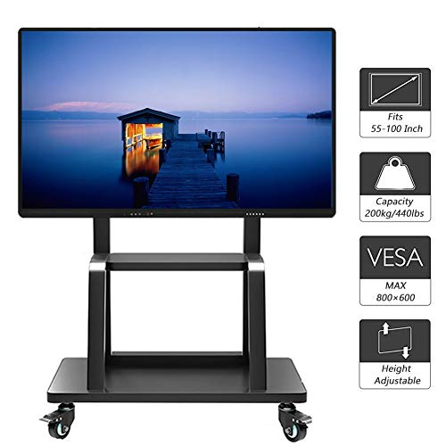 ZAQI Mobile TV Cart with Wheels for 55-100 Inch LCD LED 4K Flat Curved Screen TVs, Height Adjustable Trolley Floor Stand