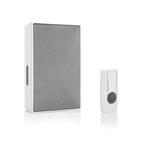 Byron draagbare draadloze deurbelset 1 x belknop & 1 x deurbel plug in wit