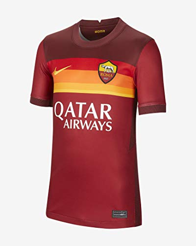 Nike Herren T-Shirt Roma M Nk BRT Stad JSY Ss Hm, Team Crimson/Dark Team Red/(University Gold) (Full Sponsor), L, CD4248