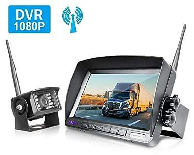 ZEROXCLUB HD Digital Wireless Backup Camera for RV/Truck/Trailer/Van/Bus, 7 Inch HD 1080p LCD Monitor and IP69 Waterproof Rear Camera System,HDCVI Signal,Night Vision,Record(SW01-black)