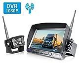 ZEROXCLUB HD Digital Wireless Backup Camera for RV/Truck/Trailer/Van/Bus, 7 Inch HD 1080p LCD Monitor and IP69 Waterproof Rear Camera System,HDCVI Signal,Night Vision,Record(HW01-grey)