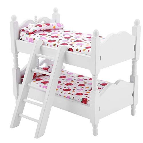 Puppenetagenbett 1:12 Kinder Schlafzimmer Modell Spielzeug Puppenhaus Möbel Puppe Etagenbetten Mini-Etagenbetten Holz Miniatur-möbel Mini Puppenzubehör Für Puppenhaus Rollenspiel Kinderspielzeug