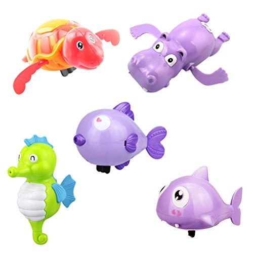 Toyvian Piscina de Cuerda Juguetes Bebé Mar Animales Baño Juguete Bañera Bañera Jugar Juguete a Cuerda para niños 6 Piezas (Color Aleatorio)