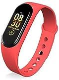 Reloj inteligente de pulgadas para hombre y mujer, juego completo integrado, IP67, monitor de sueño de frecuencia cardíaca, impermeable, para teléfono iOS Android (color para negro), rojo