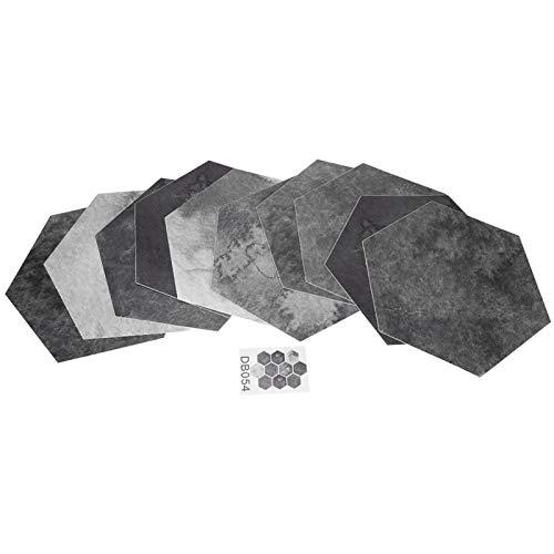 Candeon Etiqueta engomada del Piso -10Pcs Simulación Hexagonal Patrón único Impermeable Antideslizante Autoadhesivo Etiqueta de Piso de baldosas