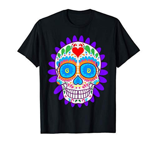 Sugar Skull Blumen Day Of The Dead Dia Muertos Tee Geschenk T-Shirt