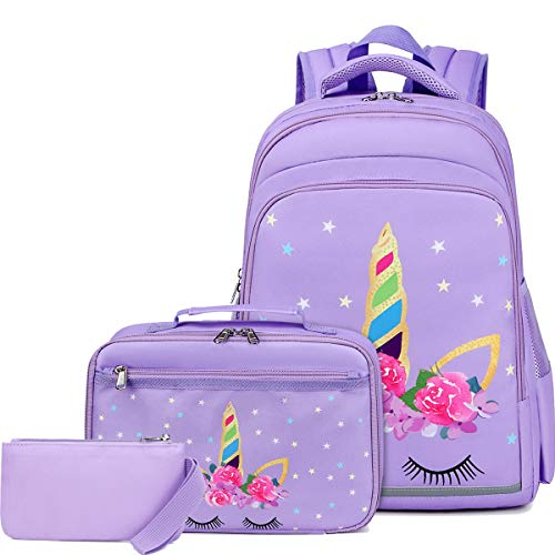 CAMTOP Backpack for Girls School Kids Backpack with Lunch Bag Children Schoolbag (y058-3 /Unicorn-Purple)