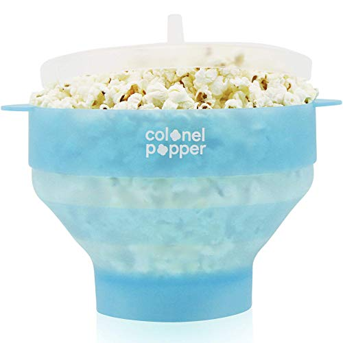 Original Colonel Popper Healthy Microwave Popcorn Maker - LFGB Food Grade Certified BPA Free Popcorn Poppers (Transparent Blue)