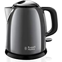 Russell Hobbs Colours Plus - Hervidor de Agua Eléctrico Pequeño (2400 W, Hervidor de 1l, Kettle Inox, Gris Oscuro) - ref. 24993-70