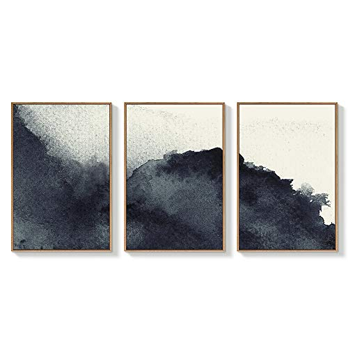 NWT Framed Canvas Wall Art for Living Room, Bedroom Abstract Zen Canvas Prints for Home Decoration Ready to Hanging - 16'x24'x3 Panels