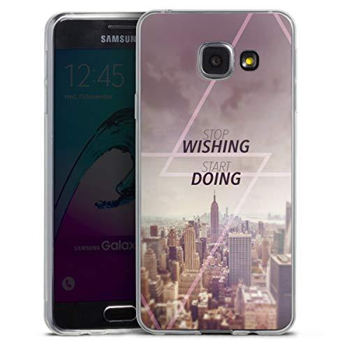 DeinDesign Custodia sottilissima Compatibile con Samsung Galaxy A3 Duos 2016 Custodia per Cellulare di Silicone Trasparente Cover Semplice Statement New York Cittá