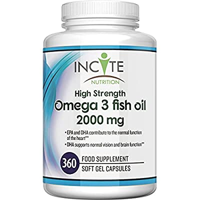 Omega 3 Supplement 1000MG Max Strength 365 Soft Gels (1 Years Supply) MONEY BACK GUARANTEE UK Made BUY 2 GET FREE UK DELIVERY - Boosts Immune System, Helps Joint Care And Healthy Hair - Fish Oil / Cod Liver Oil - DHA + EPA -Omega 3 6 9 - Omega 3 Fatty Aci