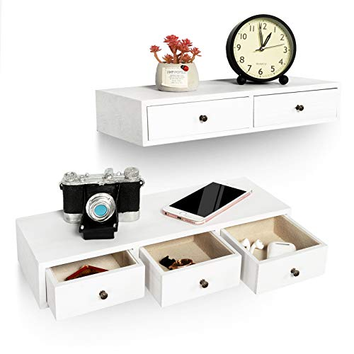 Emfogo Floating Shelf with Drawer Floating Nightstand Wall Mounted Rustic Wood Wall Shelves for Storage Display Multiuse Shelf Pack of 2 (White+Plus)