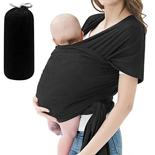 Porte-bébé, porte-bébé confortable, porte-bébé mains libres, léger, respirant, doux, parfait pour les nouveau-nés et les bébés, housse d'allaitement avec pochette de transport(Black)