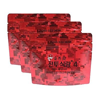 Kimbyengjang New Korean MRE Military Food with Plastic Spoon Bibimbap Spicy Beef Rice Food Rations Combat Surplus (120g/ 3packs)