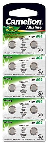 10 Stk. (1 Blister) Camelion 0{45f52b2060e6e4c223083bb1010103630c3bd1c3f3a8824cb61d738953ab2ead}HG Alkaline 1,5V Knopfzellen Uhren-Batterien AG4, 177, 377, SR626, LR626